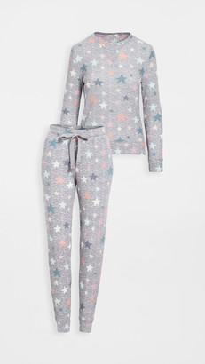 Emerson Road Fuzzy Luxe Crew Neck with Jogger Pajama Set