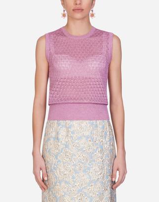Dolce & Gabbana Sleeveless Lurex Lace-Stitch Sweater
