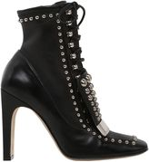 Sergio Rossi 105mm Metal Plaque Studded Leather Boots
