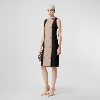 Burberry Button Panel Detail Stretch Wool Shift Dress