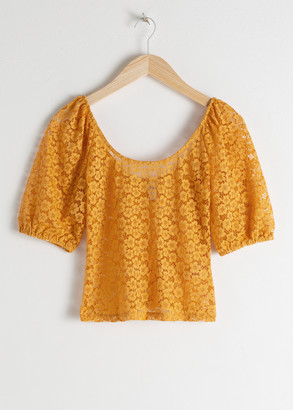 And other stories Floral Lace Puff Sleeve Top