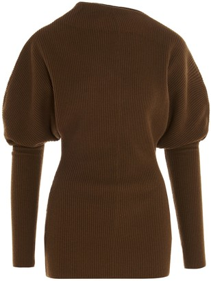 Low Classic Mock Neck Ribbed Sweater