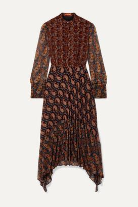 Altuzarra Lakshmi Pleated Paisley-print Chiffon Midi Dress - Black