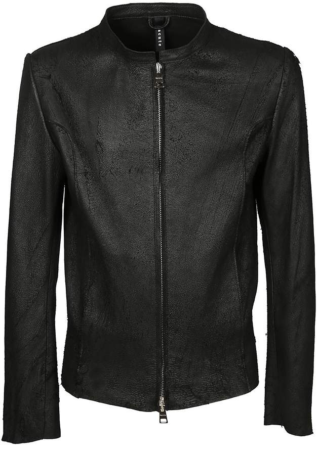Dacute Stand Up Collar Leather Jacket