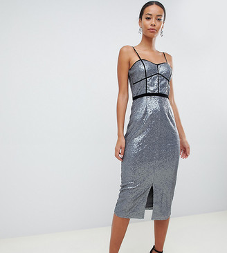 Little Mistress Tall cami strap paneled sequin pencil dress in silver