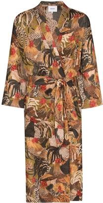 Nanushka Kim rooster print kimono