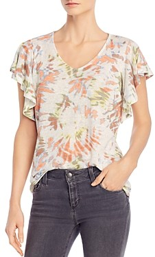 Single Thread Tie-Dyed Flutter-Sleeve Top