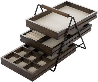 Umbra Black & Walnut Terrace Jewellery Tray - Wood/Black/Brown