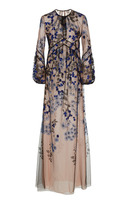 J. Mendel Bishop Sleeve Embroidered Gown