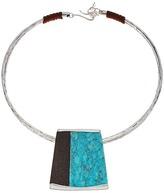 Robert Lee Morris Semiprecious Stone Geometric Pendant Wire Collar Necklace
