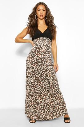 boohoo 2In1 Wrap Neck Leopard Print Maxi Dress