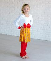 Red & Yellow Damask Bow Dress & Ruffle Leggings - Girls
