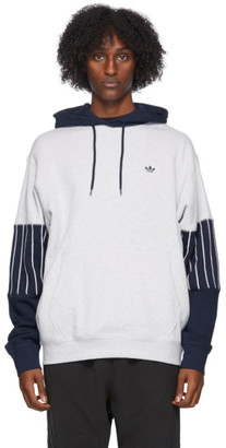adidas Grey and Blue Baseball Hoodie