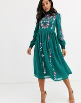 Frock and Frill long sleeve high neck embroidered midi dress