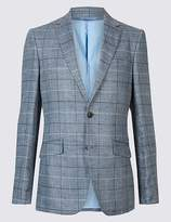 Marks and Spencer Pure Linen Tailored Fit Checked Jacket