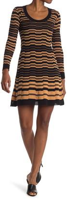 M Missoni Stripe Print Wool Blend Long Sleeve Dress