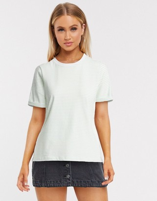 Pieces crew neck t-shirt in mint stripe