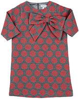 Baby CZ Polka Dot Jacquard-Woven Shift Dress-RED