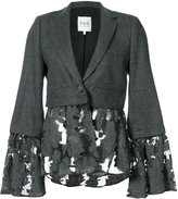 Sea flower-embroidered blazer