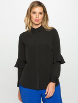 ELOQUII Plus Size Ruffle Sleeve Button Down Blouse