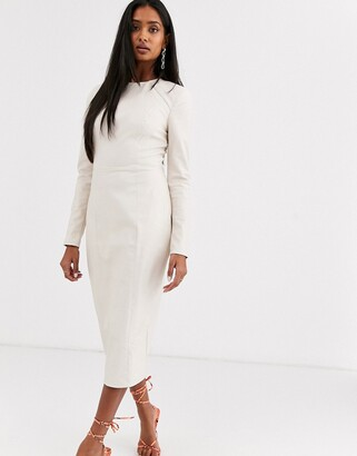 Asos Design DESIGN leather look long sleeve midi pencil dress-Cream