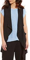 Jones New York Shawl Collar Drape Front Solid Vest