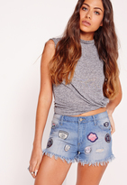 Missguided Low Rise Badge Ripped Denim Shorts Mid Blue