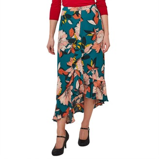 Joe Browns Floral Print Asymmetric Midi Skirt with Ruffles