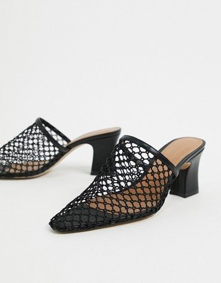 Who What Wear Skye mesh heeled mules in black leather
