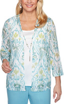 Alfred Dunner Women's Cardigans MULTI - Blue Floral Scroll Layered Top - Women, Petite & Plus