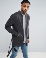 Asos Super Longline Jersey Bomber Jacket With Double Layer & Taping
