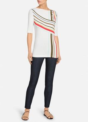 St. John Multiple Stripe Print Jersey T-Shirt