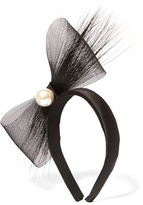Eugenia Kim Tiana Feather-trimmed Embellished Tulle And Satin Headband - Black