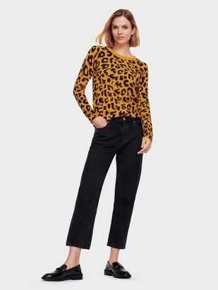 White + Warren Essential Cashmere Leopard Print Crewneck