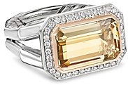 David Yurman Novella Statement Ring with Champagne Citrine, Diamonds & 18K Rose Gold
