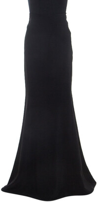 Roland Mouret Black Stretch Crepe Fit And Flare Aries Skirt L
