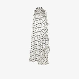 Balenciaga Stola scribble logo silk gown