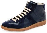 Maison Margiela Replica Mid-Top Leather & Suede Sneaker, Blue