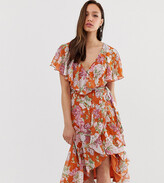 Asos Tall DESIGN Tall midi dress with cape back and dipped hem in red based floral