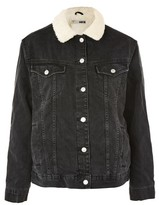 Topshop MOTO Oversized Borg Collar Denim Jacket