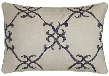 "Sferra Dante 12"" x 18"" Beaded Scrollwork Pillow"