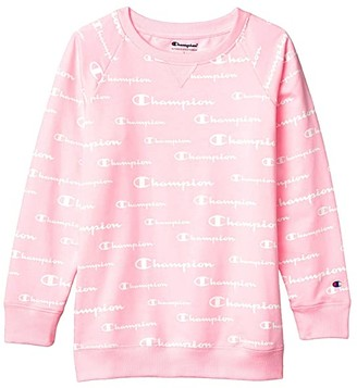 Champion Kids All Over Print French Terry Crew (Big Kids) (Pink Candy) Girl's Clothing
