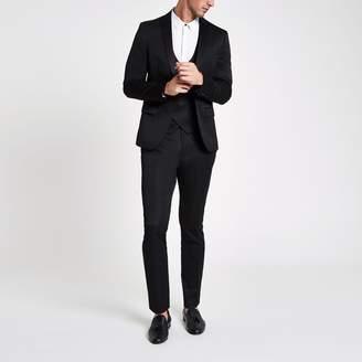 River Island Mens Black satin skinny suit trousers