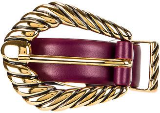 Alberta Ferretti Leather Buckle Belt in Violet   FWRD