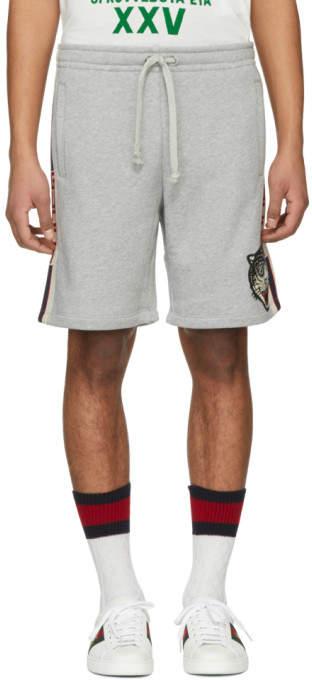 Gucci Grey Logo Band Shorts