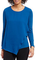 Vince Camuto Long Sleeve Top With Asymmetrical Chiffon Overlay
