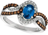LeVian Le Vian Chocolatier Blueberry Sapphire (3/4 ct. t.w.) and Diamond (1/2 ct. t.w.) Ring in 14k White Gold