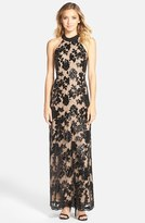 Dress the Population Women's 'Valentina' Lace Halter Gown