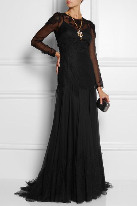 Dolce & Gabbana Lace-appliquéd georgette gown