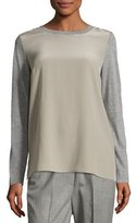 Peserico Long-Sleeve Colorblock Silk/Wool Combo Top, Taupe/Gray